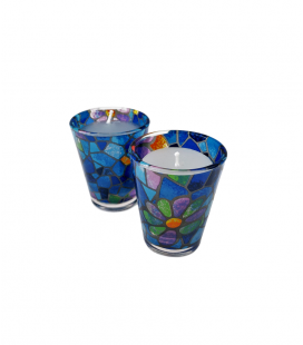 Set of 2 Glass Candleholder Vitral