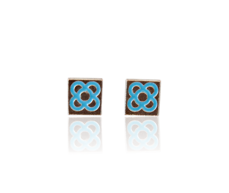 Barcelona Flower Enameled Earrings