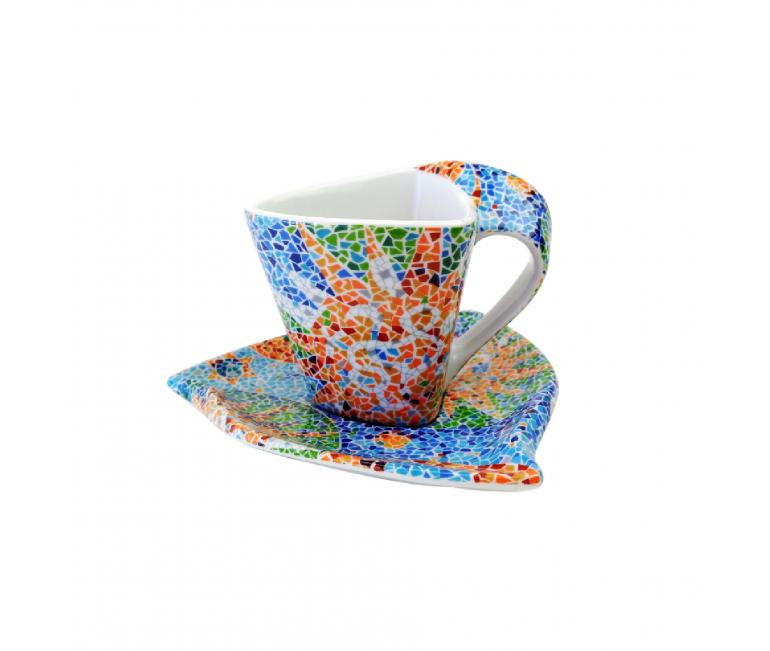 Taza triangular de café con plato - Soles