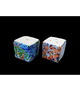 Salière et poivrière cube Trencadís Aurora