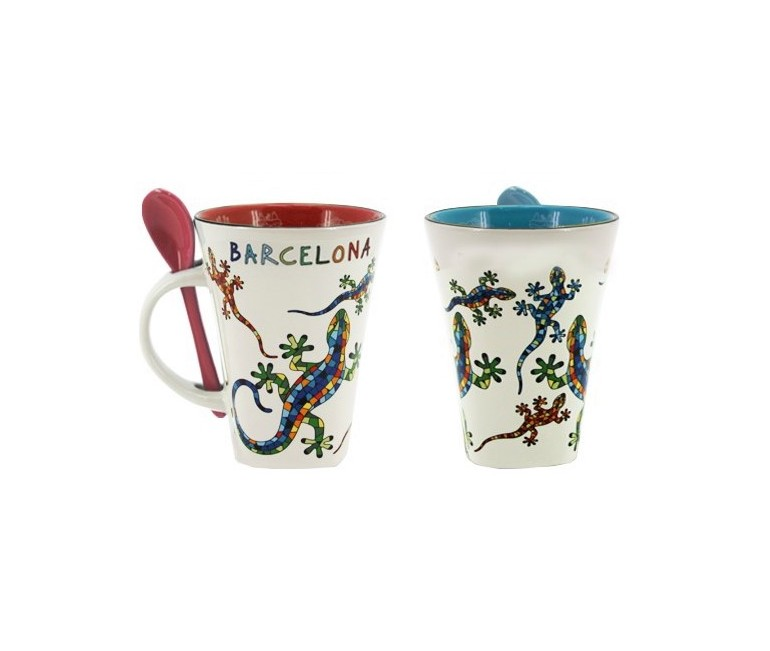 Mug with spoon Gaudi Salamander