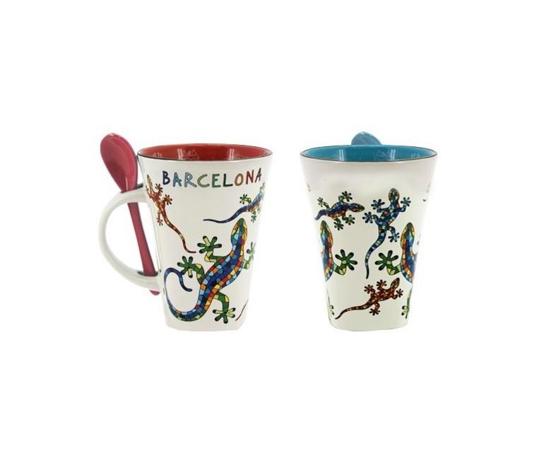 Mug con cucharilla Salamandra-Barcelona