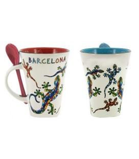Taza Gaudí Salamandra Barcelonacon cucharilla