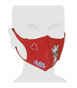 L.O.L. Surprise! Swarovski Cotton Face Mask for Kids. Red Color