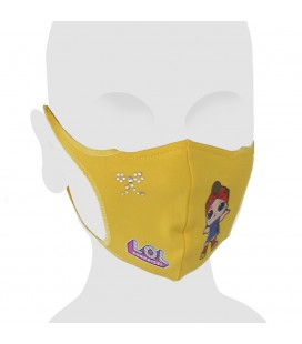 Mascarilla infantil algodón con Swarovski L.O.L. Surprise! Can Do Baby color amarillo