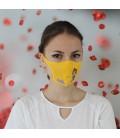 Mascarilla de algodón Swarovski para niños. Color amarillo