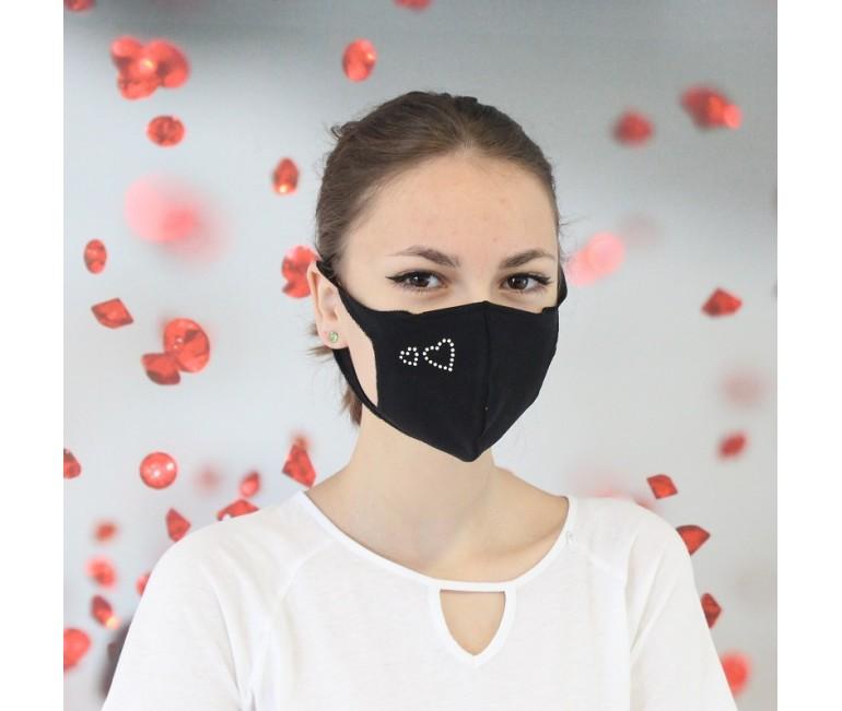 Hearts Swarovski Cotton Face Mask