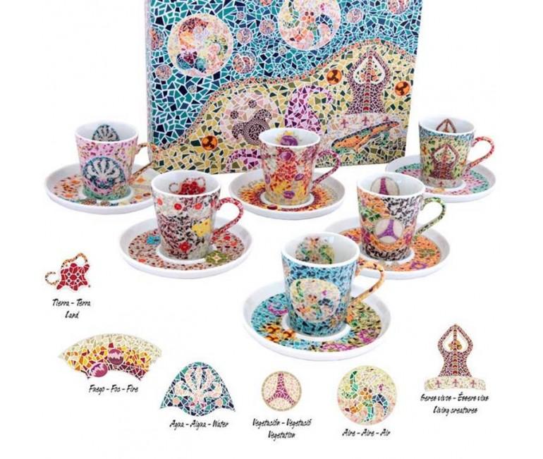 Set de 6 tazas y platos espresso Gaudí Elementos