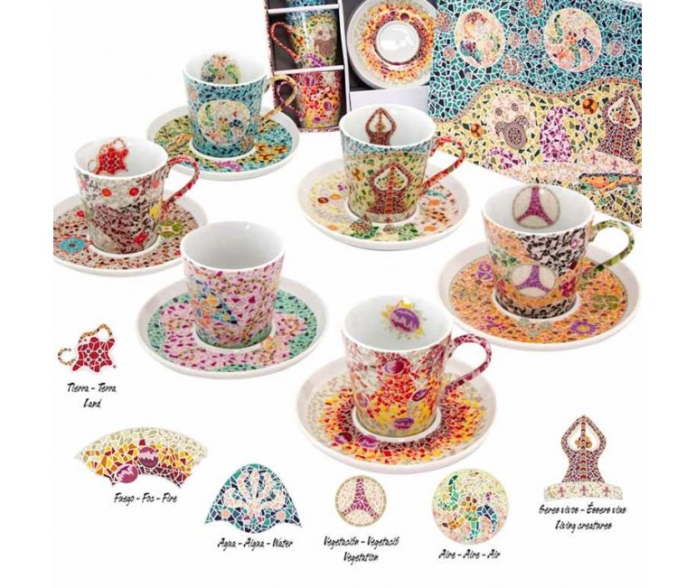 Set of 6 Espresso Cup and Saucer Gaudi Elements