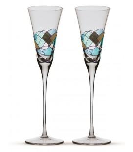 Deux verres champagne Gaudí Aqua
